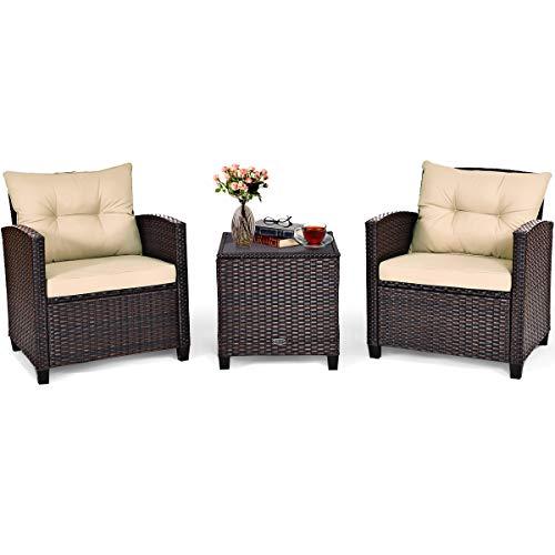 COSTWAY Conjunto Muebles de Ratán para Comedor Salón Jardín Terraza 1 Mesa y 2 Sillas con Cojín de Asiento para Patio Terraza Interior Exterior