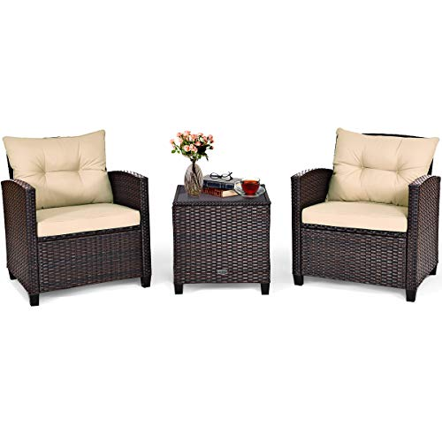 Tangkula 3 Pieces Patio Furniture Set, PE Rattan Wicker 3 Pcs Outdoor Sofa Set w/Washable Cushion...