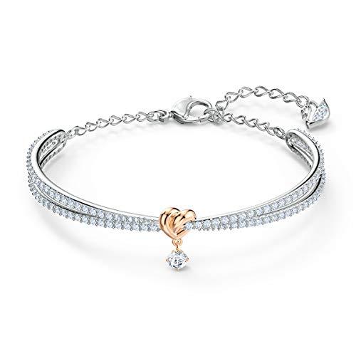 Swarovski Lifelong Heart Armreif, Eleganter Damenarmreif im Metallmix mit Funkelnden Weißen Swarovski Kristallen und Herz-Anhänger