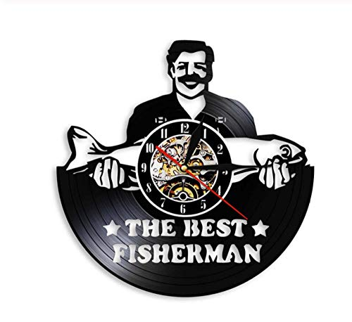 VJIEBF The Best Fisherman Funny Fishing Man Fishery Wall Art Watch Vintage Vinyl Record Wall Clock Gift for Peterman Dad Fishing Lovers