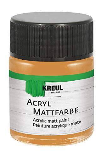 Kreul 75507 Acryl Mattfarbe, cremig deckende, schnelltrocknende Farbe auf Wasserbasis, für viele verschiedene Untergründe geeignet, im 50 ml Glas, ocker