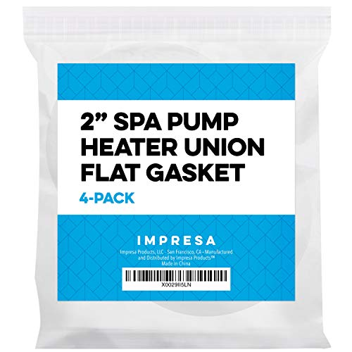 Impresa Products 4 Pack Spa Hot Tub Pump Heater Union Gasket/O-Ring - 2.2'' ID 3'' OD'' Flat Gasket Works on Variety of Spas