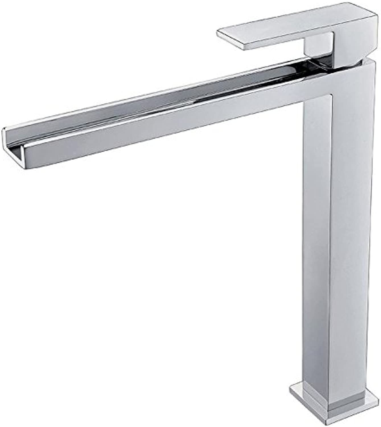 FEN High-grade chrome-plus high waterfall face plate faucet square table bathroom hot and cold water faucet