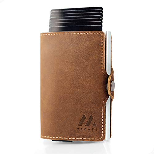 MAGATI Slim Wallet - Kreditkartenetui mit Münzfach - Geldbörse, Geldbeutel aus Echt-Leder mit Fundservice, Geldscheinklammer und RFID-Schutz Dunkelbraun