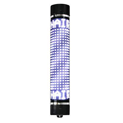 WangXN aan de muur bevestigde kapsalonpalen, draaiende ledlamp van de afstandsbediening waterdichte Salonlogo's lichtrode witte en blauwe strepen, zwart frame 15 x 65 cm