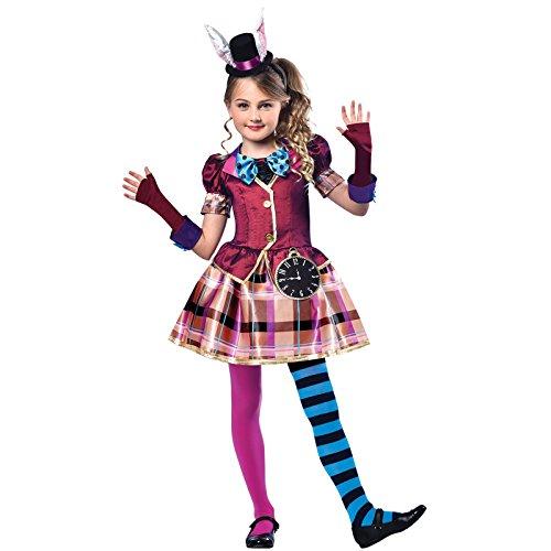 amscan 9903200 Miss Mad Hutmacher-Kostüm mit Handschuhen und Hut, Stirnband, Alter 11–12 Jahre, 1 Stück
