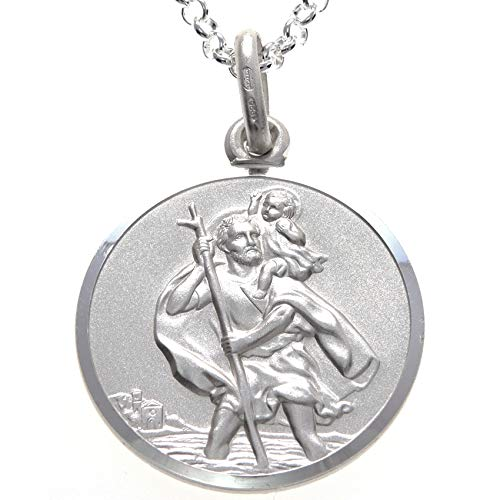 Mens Large Reversible Sterling Silver St Christopher Pendant with 20' Chain & Jewellery Gift Box - 24mm