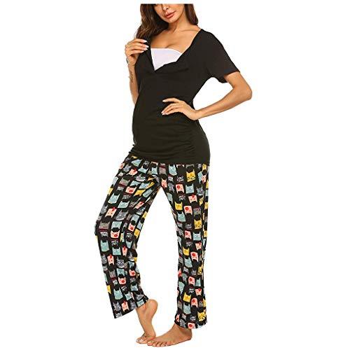 SANFASHION Pyjamas Ensemble Maternité d'allaitement,T-Shirt Femme Enceinte Manches Longues Pantalon Casual Blouse Tops de Nuit Pyjamas Grossesse Pyjamas Vetement Allaitement Pantalons Casual