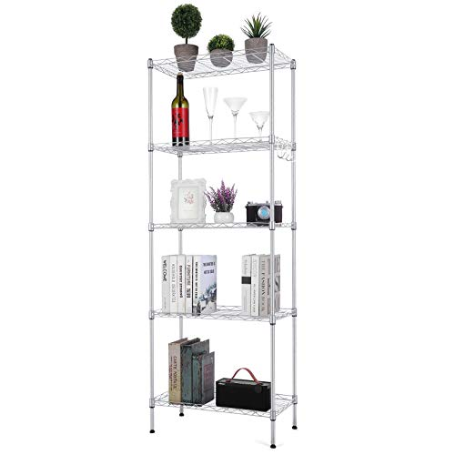 Likein 5-Tier Steel Wire Shelving Unit, Adjustable Metal Shelves, Storage Shelf with Stainless Steel Hooks and Leveling Feet, Suitable for Living Room, Kitchen, Bathroom, Garage(Silver)