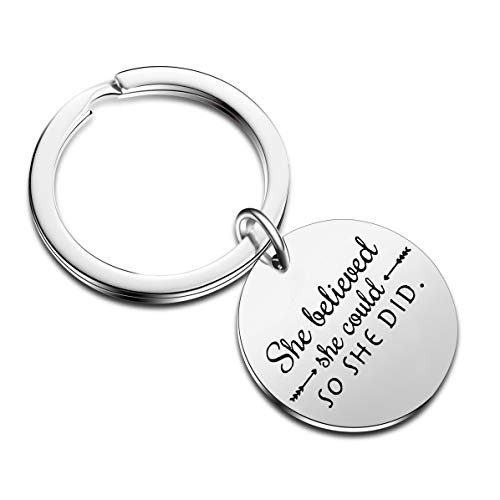 Fashion Family Best Friend Inspiration Keychain Gift She Believed She Could So She Did Inspirational Pendant Key Chain Keyring (Style-1)