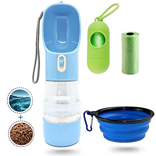 MJuAn Dog Water Bottle for Walking,Dog Travel Water Bottle,portable dog water bottle,Multifunctional and Portable Dog Travel Water Dispenser with Food Container,Dog water bottle for pet outdoor hiking