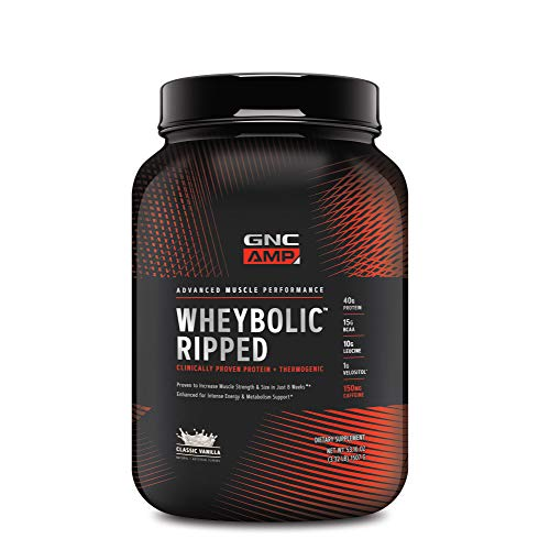 GNC AMP Wheybolic Ripped Whey Protein Powder - Classic Vanilla, 22 Servings, Contains 40g Protein and 15g BCAA Per Serving
