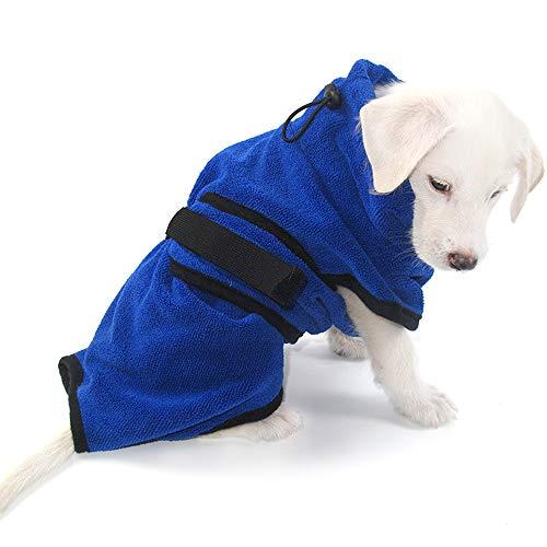 SHUUMEEKAペット用バスローブ 超吸水 ペット マイクロファイバー 犬用ガウン 吸収速乾タオル 犬体拭き用タオル 柔らかい 小中型犬 (L, ブルー(B))
