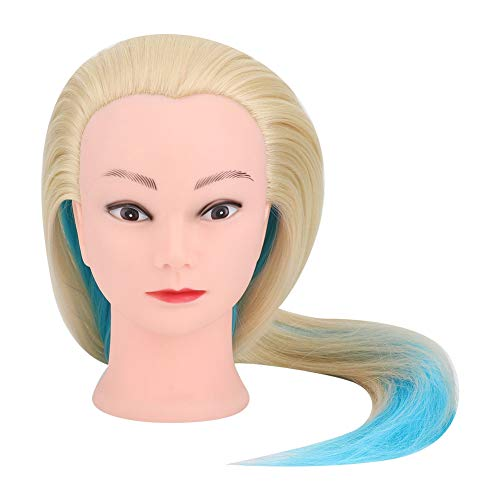 Tête de mannequin coloré bleu avec coiffure coiffure outil de formation de tressage pour les élèves de l'école de cosmétologie pour pratiquer le tressage de cheveux