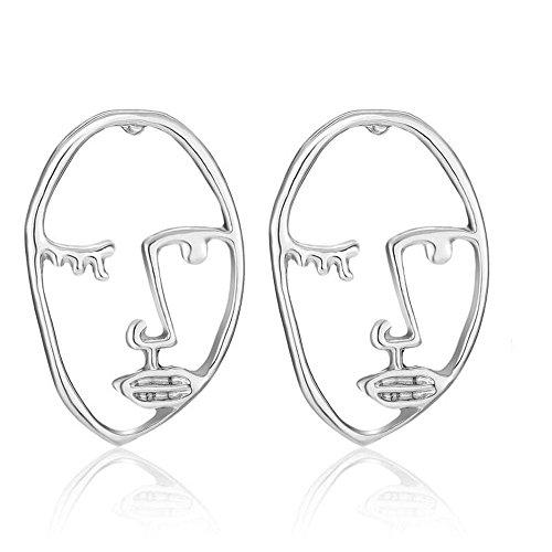 Fashion Women Face Eyes Hollow Irregular Earrings Silver Girl Modern Art E1293