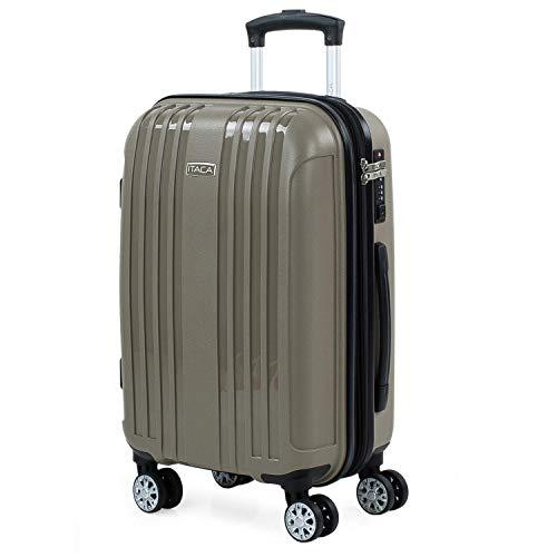 ITACA - Maleta de Viaje Cabina Avion Rígida Pequeña y Ligera con 4 Ruedas Hombre Mujer Trolley 55x40x20 cm. Material Muy Resistente. Equipaje de Mano. Candado con TSA. 760250, Color Beige