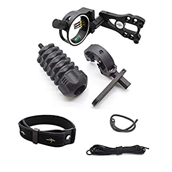 SAS Archery Essential Accessory Upgrade Combo 5-pin Bow Sight Arrow Rest Stabilizer Braided Bow Sling Peep Sight - Black