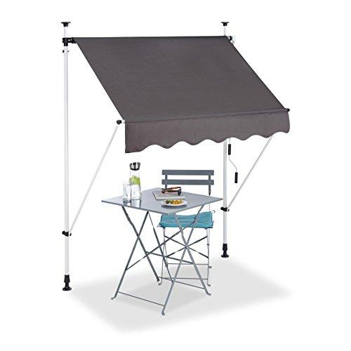 Relaxdays Klemmmarkise Balkon, Handkurbel, höhenverstellbar, UV-beständig, ohne Bohren, Polyester, 150 cm breit, grau