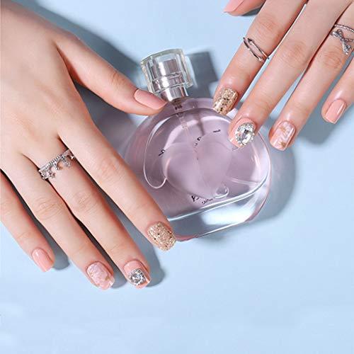 JIN HUA-fake nails Falsche Nägel, Damen Volldeckung 3D Strass Kurz Quadratisch Kopf Wearable Fertige Nägel 24 Stück, mit rückseitiger Klebe (Color : Q)