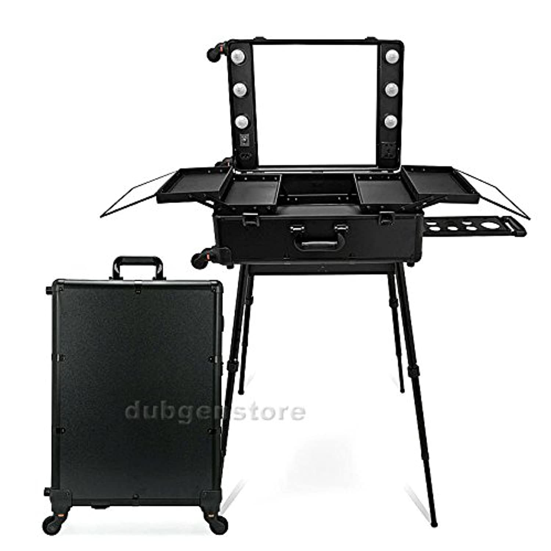 ハリウッドミラー スーツケース メイクステーション プロ用 (ブラック)