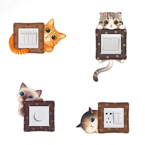 AGQG 6 Stück/Set Nette Cartoon Katze Schalter Aufkleber Wohnzimmer Schlafzimmer Schlafsaal Wand dekorative PVC-Steckdose Aufkleber Kühlschrank