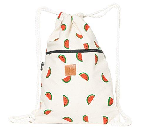 T-BAGS Thailand Baumwoll Turnbeutel Hipster - mit Reißverschluss - 24 Designs – Hochwertiger Beutel, Rucksack, Gym-Bag mit verstellbaren Kordeln (Wassermelone)