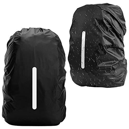 Regenschutz für Rucksack, 2Pcs Rucksack Regenschutz Wasserdichte Regenhülle Schulranzen mit Reflexstreifen, Regenüberzug Ranzen Rucksackschutz Sicherheitshülle für Outdoor Camping Wandern, 30-40L, M