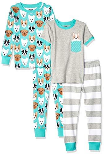 Spotted Zebra 4-Piece Snug-Fit Cotton Pajama Pyjama Set, Puppies, Small (6-7)