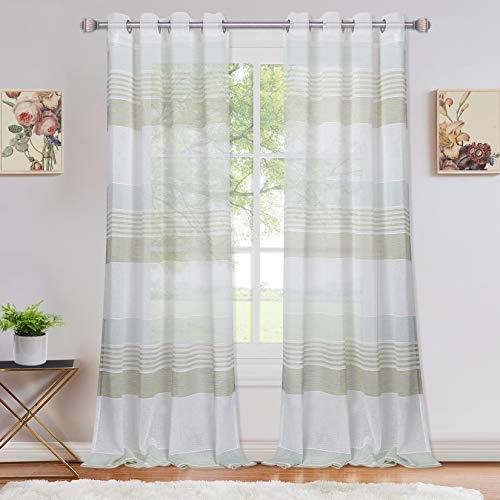 LinTimes Voile Sheer Vorhang mit Ösen Fenster Vorhänge für Schlafzimmer, Streifen Muster halb transparente...