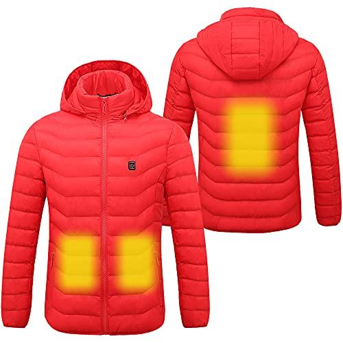 Sidiou Group - Chaqueta térmica eléctrica para hombres y mujeres con temperatura ajustable, recargable por USB - Ropa de abrigo para invierno con capucha y relleno de plumón (el paquete no incluye la fuente de energía)