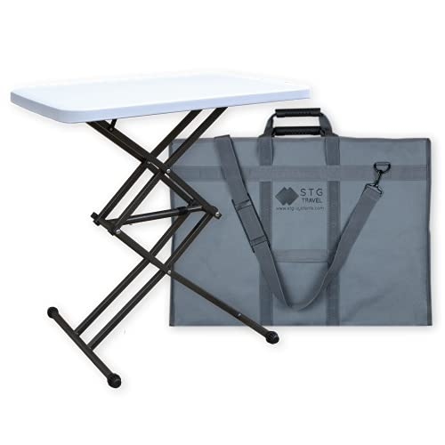 Height Adjustable Small Folding Table with Carry Bag | Foldable White Plastic Garden Side Table, Portable Camping Table | Foldaway TV Dinner or Coffee Table, Collapsible Study Work Desk