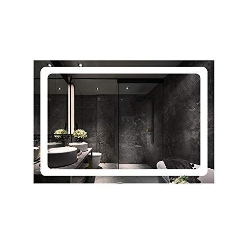 Wandspiegel badkamerspiegel met LED-licht, WC-wandspiegel verlicht intelligente anti-condens-spiegel 75 * 100cm Wit licht