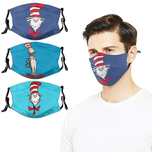 3PC Dr Seuss Face Mask Reusable Washable Adjustable Tightness with buttonFace Mouth Mask for Kids Teens Men Women (White-dr Seuss (16) Dr Seuss (17) Dr Seuss (22) 1, One Size)