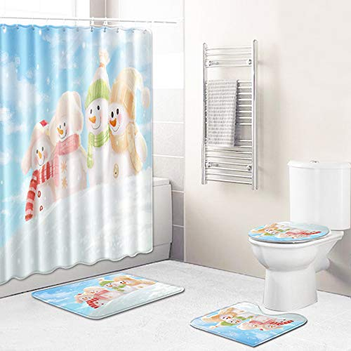 4pcs Merry Christmas Shower Curtain Xmas Bathroom Decor Set Including Christmas Bathroom Accessories,Non-Slip Bathroom Rugs,Contour Mat,Toilet Seat Cover. Snowman 4-Large