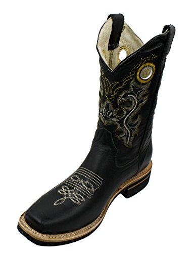 Men genuine cowhide leather square toe western cowboy boots Black 10.5