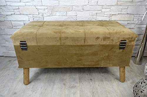 Livitat® Hocker Polsterhocker Suitcase Pouf Truhe Staufach Truhenbank Sitzbank Ottomane B90 x T40 x H47 cm LV2079 (Braun) - 3