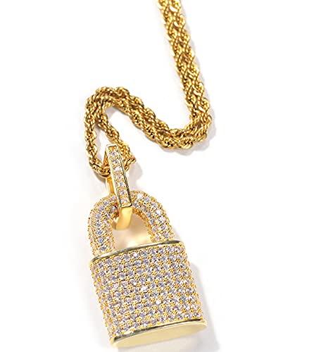 CHXISHOP Collar Punk Hip Hop Zircon Lock Creativo Hombres y Mujeres Personalidad Colgante Colgante Moda Cadena de clavícula Gold