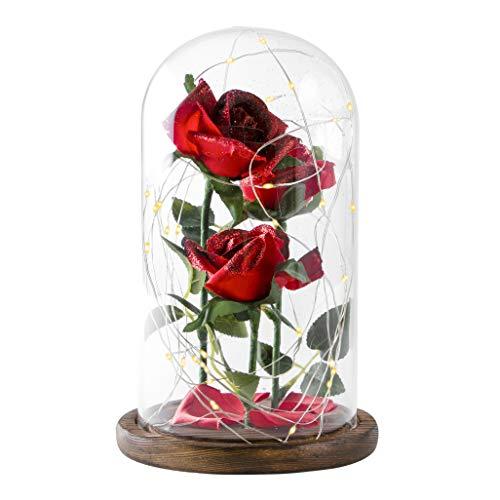 Snowkingdom schoonheid het beest betoverde roos in glas koepel rode bloem LED-lamp nachtlampje met gevallen bloemblaadjes op een houten voet