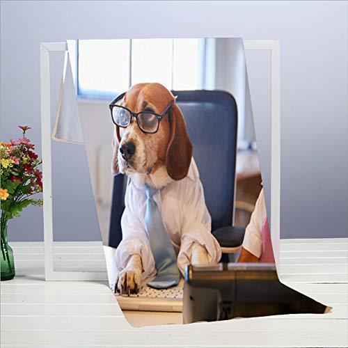 Bulldog Beagle gekleidete Geschäftsleute Schreibtisch Computer Hund Mikrofaser Strandtücher - 3D-gedruckte Stile - Cabana Handtücher - Surf Handtücher - Sandfrei - Fast Dry (15,7 x 27,5 Zoll)
