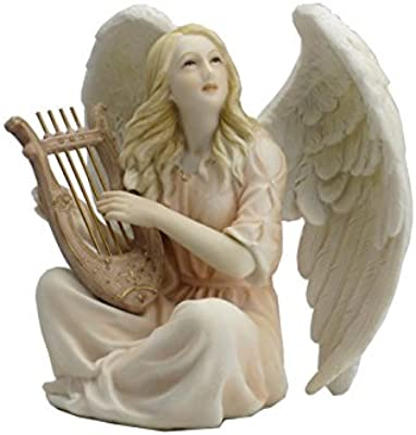 4.5 Inch Poly Stone Angel Sitting with Lyre Figurine Statue Decor