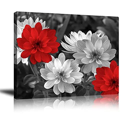 Bathroom Decor Canvas Red Flower Wa…