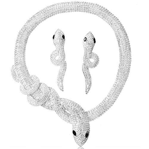 Set di gioielli per donna, collana punk a forma di serpente Collana con pendente gotico vintage con set di orecchini, per matrimonio, Halloween, abito da festa (Snake)