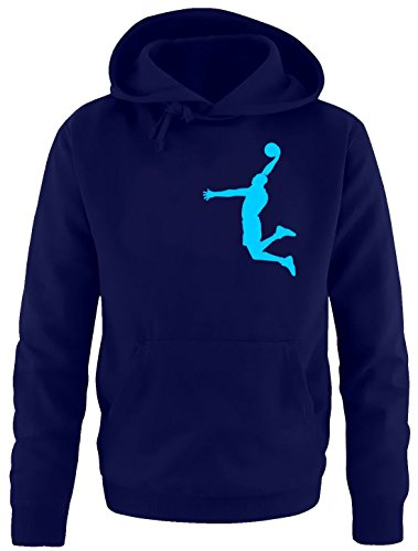 Coole-Fun-T-Shirts Dunk Basketball Slam Dunkin Kinder Sweatshirt mit Kapuze Hoodie Navy-Sky, Gr.140cm