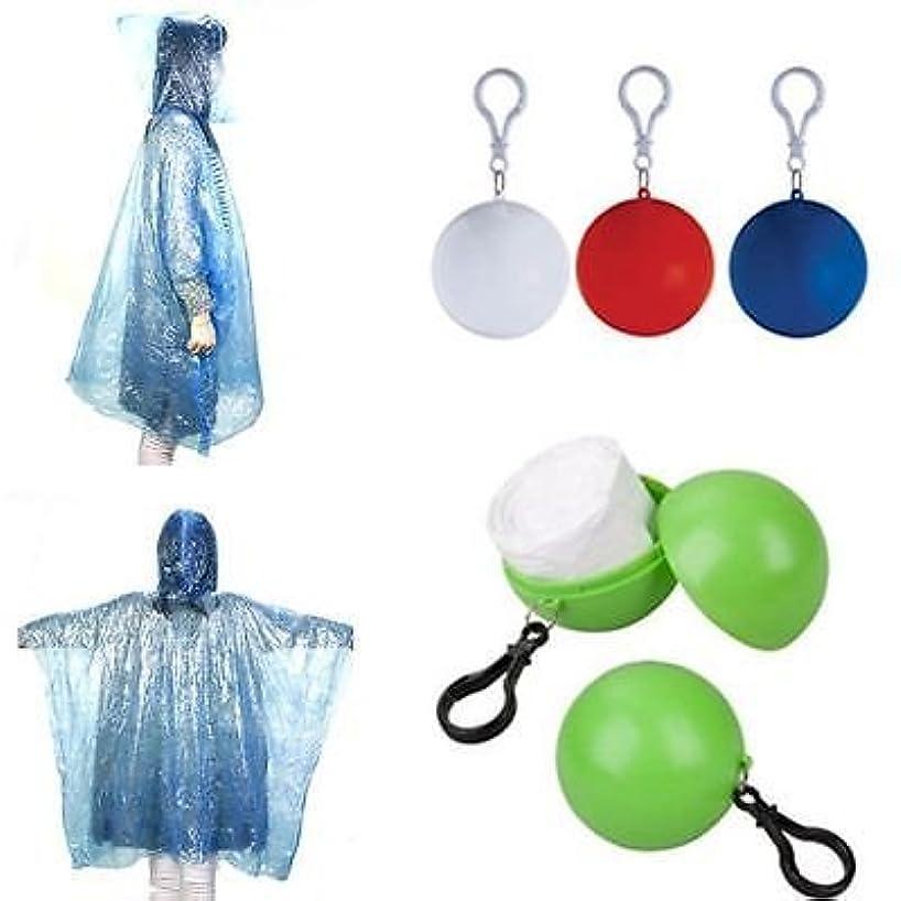 PVC Unisex Raincoat Disposable Portable Rain Jacket Poncho Rainwear W/ Keyring Ball Raincoats (Yellow)