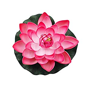Grey990 1Pc Artificial Lotus Flower Fake Floating Water Lily Garden Pond Fish Tank Decor Material Peach Red