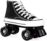 Msoah Niños Estudiantes Adultos Patinaje sobre Ruedas Patines De Ruedas Deportes Al Aire Patinaje sobre Viajes Clásico Negro Rookie Rollerskates Canvas Skates Women