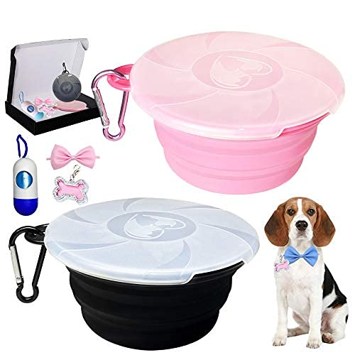 Collapsible Dog Bowl for Travel, 2 Pack cat Food Bowls Small Dog Water Silicone Bowls with lids & Dog Poop Bag with…