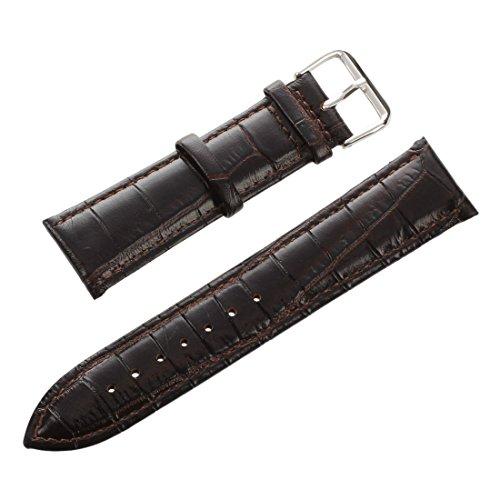 SODIAL(R) 22mm Cinturino per Orologio Pelle Vera Marrone Scuro con Fibbia