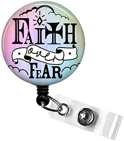 Nurse or Teacher ID Badge Holder FAITH Badge Reel BIBLE VERSE Nurse Badge Holder FAITH OVER product image