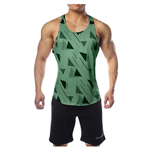 Celucke Lässiges Trägershirts Herren Tank Tops Print Tanktops Männer Tankshirt Fitness Muskelshirts Unterhemden Sommer Strand Sport Jogging Slim Fit (Grün,M)